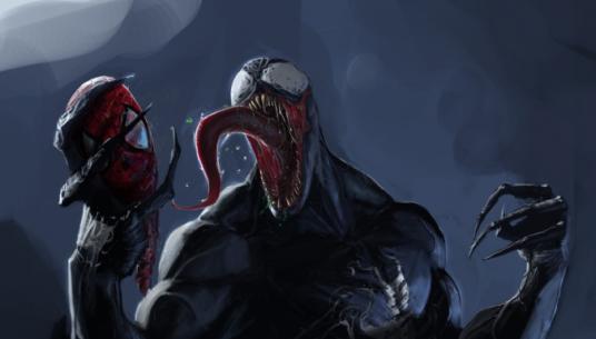 Venom-with-Spideys-head.-675x385